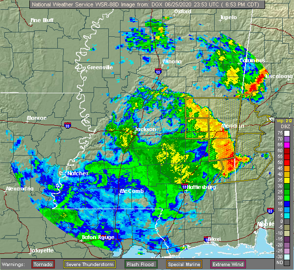 Radar Image for Severe Thunderstorms near Pearl River, MS at 6/25/2020 7:01 PM CDT