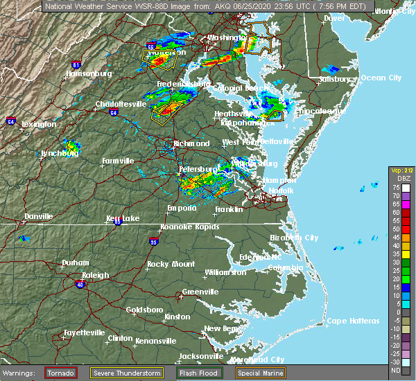Radar Image for Severe Thunderstorms near Lake Caroline, VA at 6/25/2020 8:03 PM EDT