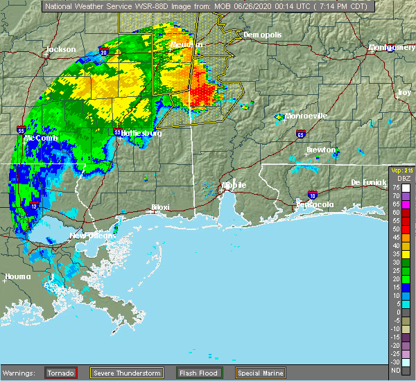 Radar Image for Severe Thunderstorms near Silas, AL at 6/25/2020 7:21 PM CDT