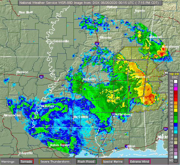 Radar Image for Severe Thunderstorms near Pearl River, MS at 6/25/2020 7:20 PM CDT