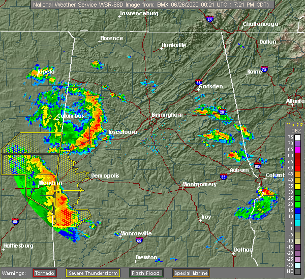 Radar Image for Severe Thunderstorms near Bellamy, AL at 6/25/2020 7:26 PM CDT