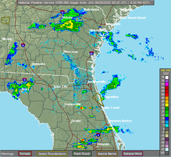Radar Image for Severe Thunderstorms near World Golf Village, FL at 6/25/2020 8:25 PM EDT
