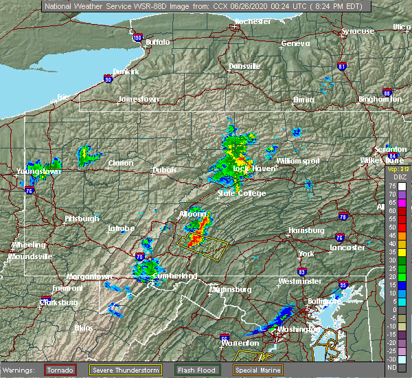 Radar Image for Severe Thunderstorms near Saxton, PA at 6/25/2020 8:31 PM EDT