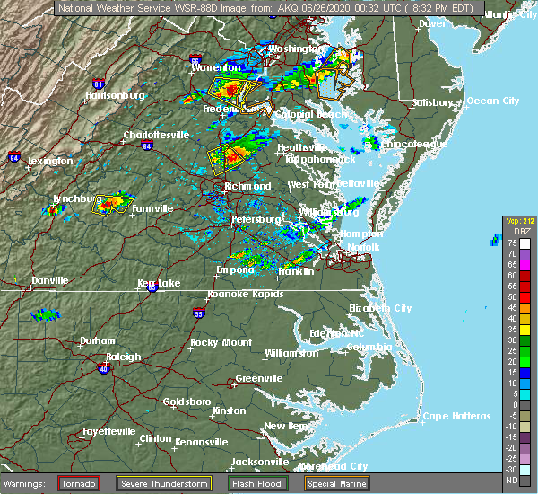 Radar Image for Severe Thunderstorms near Central Garage, VA at 6/25/2020 8:39 PM EDT