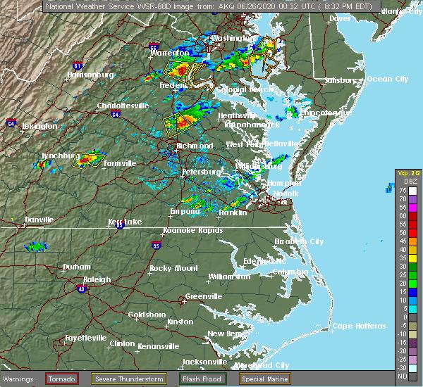Radar Image for Severe Thunderstorms near Mechanicsville, VA at 6/25/2020 8:39 PM EDT