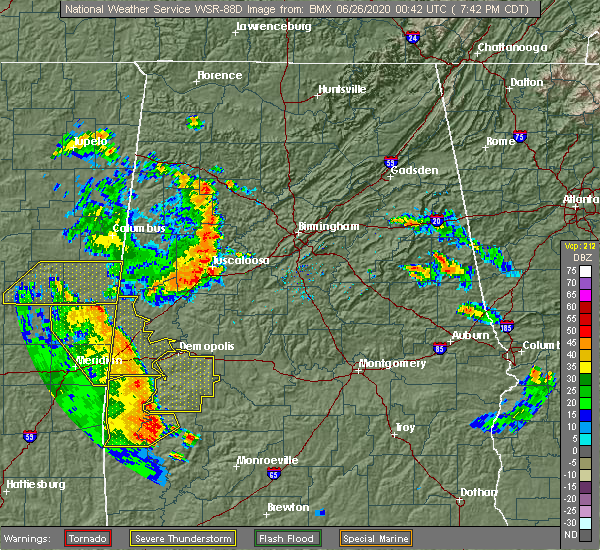 Radar Image for Severe Thunderstorms near Yellow Bluff, AL at 6/25/2020 7:43 PM CDT