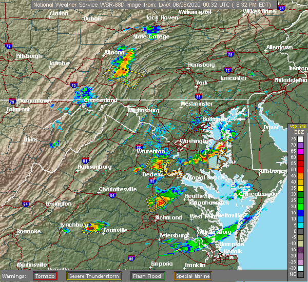 Radar Image for Severe Thunderstorms near Quantico Base, VA at 6/25/2020 8:43 PM EDT