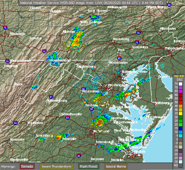 Radar Image for Severe Thunderstorms near Quantico Base, VA at 6/25/2020 8:48 PM EDT