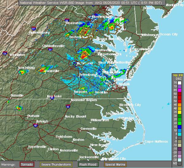 Radar Image for Severe Thunderstorms near Mechanicsville, VA at 6/25/2020 8:57 PM EDT