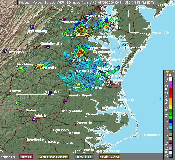 Radar Image for Severe Thunderstorms near Central Garage, VA at 6/25/2020 8:57 PM EDT