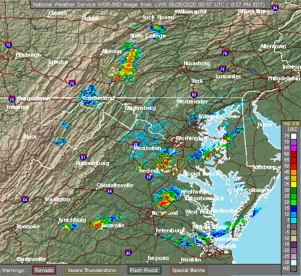 Radar Image for Severe Thunderstorms near Quantico Base, VA at 6/25/2020 8:59 PM EDT