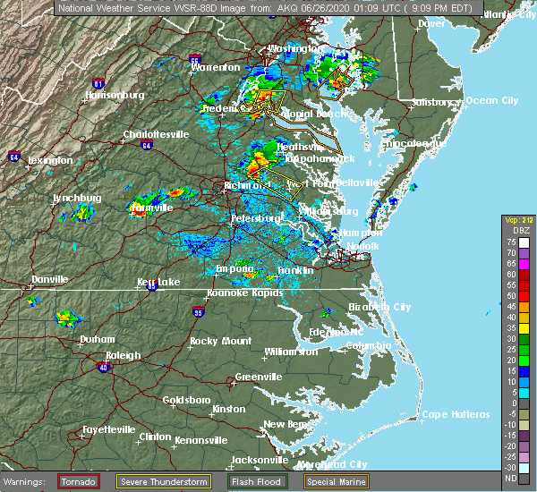 Radar Image for Severe Thunderstorms near Central Garage, VA at 6/25/2020 9:18 PM EDT