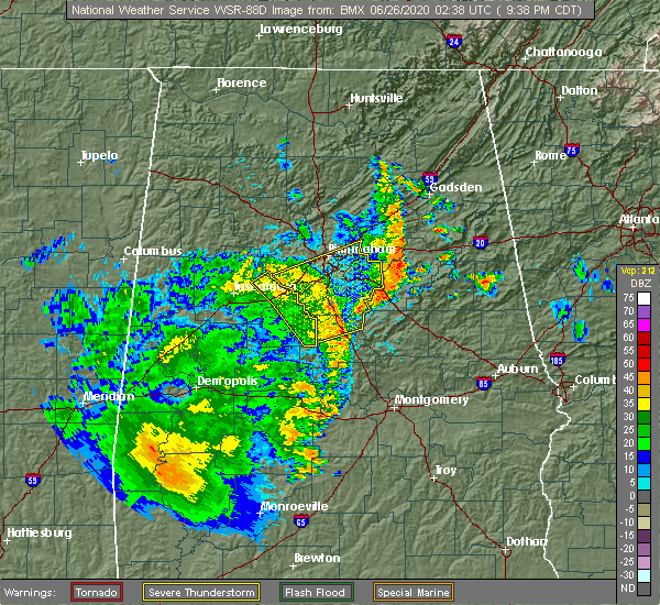 Radar Image for Severe Thunderstorms near Vincent, AL at 6/25/2020 9:42 PM CDT