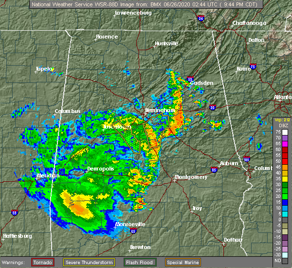 Radar Image for Severe Thunderstorms near Vincent, AL at 6/25/2020 9:47 PM CDT
