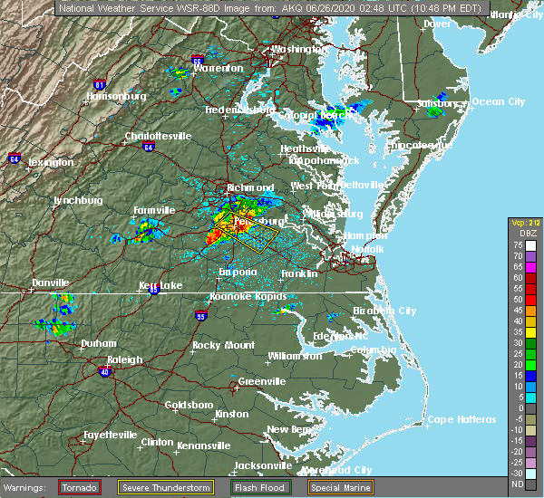 Radar Image for Severe Thunderstorms near Colonial Heights, VA at 6/25/2020 10:51 PM EDT