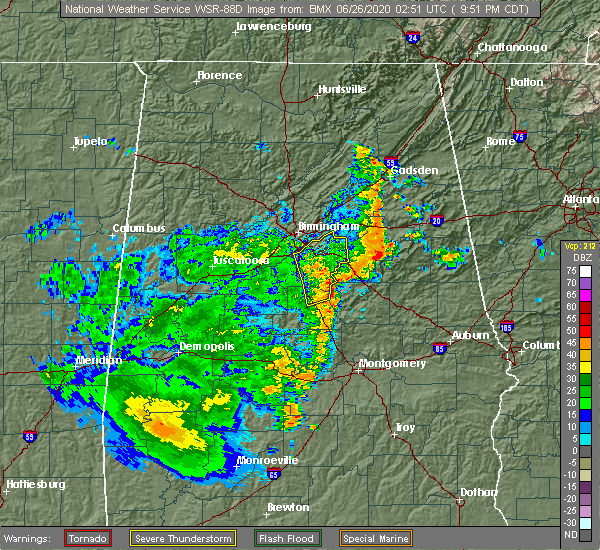 Radar Image for Severe Thunderstorms near Vincent, AL at 6/25/2020 9:58 PM CDT