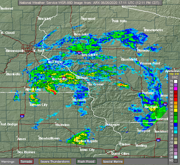 Radar Image for Severe Thunderstorms near Chester, IA at 6/26/2020 12:15 PM CDT