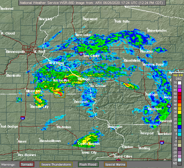 Radar Image for Severe Thunderstorms near Chester, IA at 6/26/2020 12:28 PM CDT