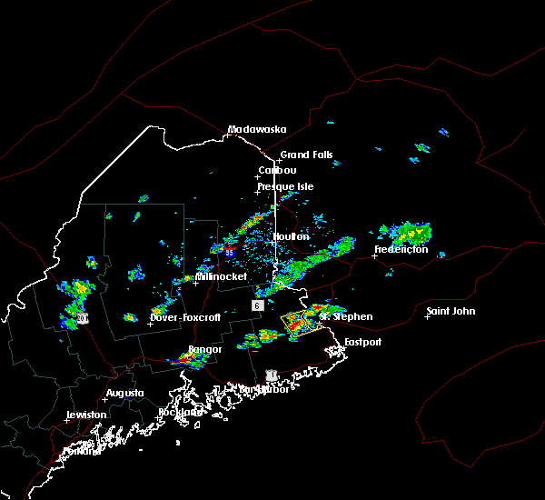 Radar Image for Severe Thunderstorms near Woodland, ME at 6/26/2020 1:41 PM EDT
