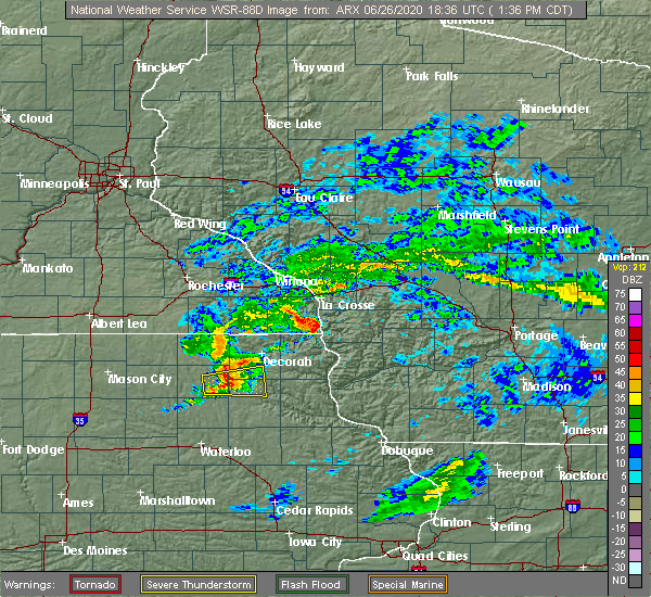 Radar Image for Severe Thunderstorms near Calmar, IA at 6/26/2020 1:40 PM CDT