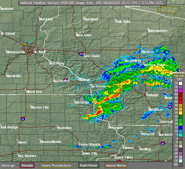 Radar Image for Severe Thunderstorms near Bagley, WI at 6/26/2020 3:17 PM CDT