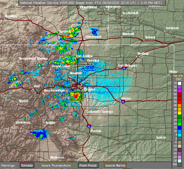 Radar Image for Severe Thunderstorms near Castle Pines North, CO at 6/26/2020 2:23 PM MDT