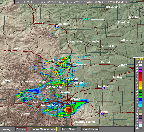 Radar Image for Severe Thunderstorms near Ranchettes, WY at 6/26/2020 2:33 PM MDT