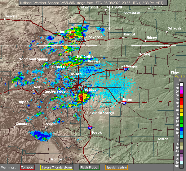 Radar Image for Severe Thunderstorms near Castle Pines North, CO at 6/26/2020 2:42 PM MDT