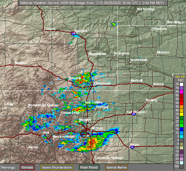 Radar Image for Severe Thunderstorms near Ranchettes, WY at 6/26/2020 2:49 PM MDT