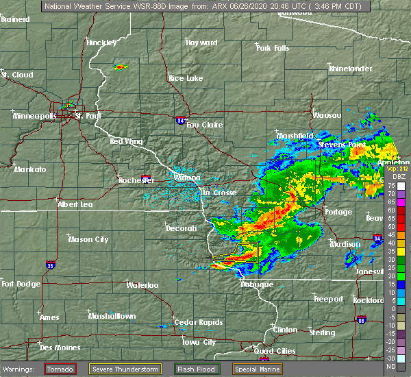 Radar Image for Severe Thunderstorms near Lancaster, WI at 6/26/2020 3:50 PM CDT
