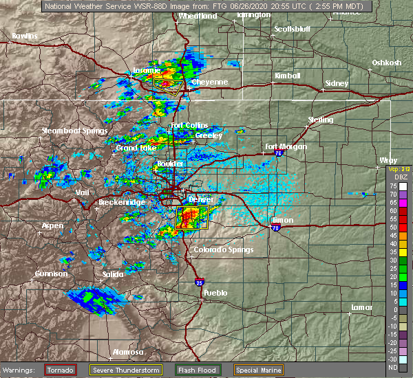 Radar Image for Severe Thunderstorms near Castle Pines North, CO at 6/26/2020 3:02 PM MDT