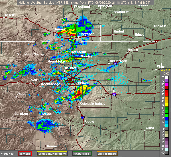 Radar Image for Severe Thunderstorms near Monument, CO at 6/26/2020 3:23 PM MDT