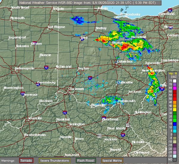 Radar Image for Severe Thunderstorms near Patterson, OH at 6/26/2020 5:42 PM EDT