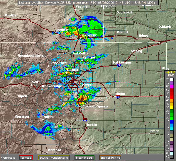 Radar Image for Severe Thunderstorms near Colorado Springs, CO at 6/26/2020 3:53 PM MDT
