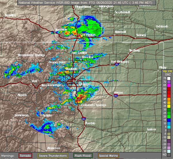 Radar Image for Severe Thunderstorms near Gleneagle, CO at 6/26/2020 3:53 PM MDT