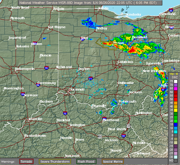 Radar Image for Severe Thunderstorms near Patterson, OH at 6/26/2020 6:09 PM EDT