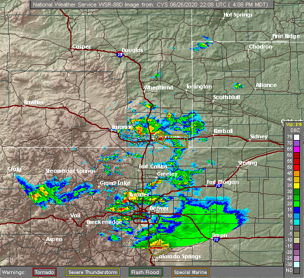 Radar Image for Severe Thunderstorms near Ranchettes, WY at 6/26/2020 4:12 PM MDT