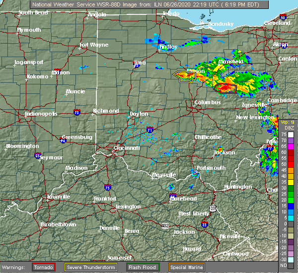 Radar Image for Severe Thunderstorms near Waldo, OH at 6/26/2020 6:23 PM EDT