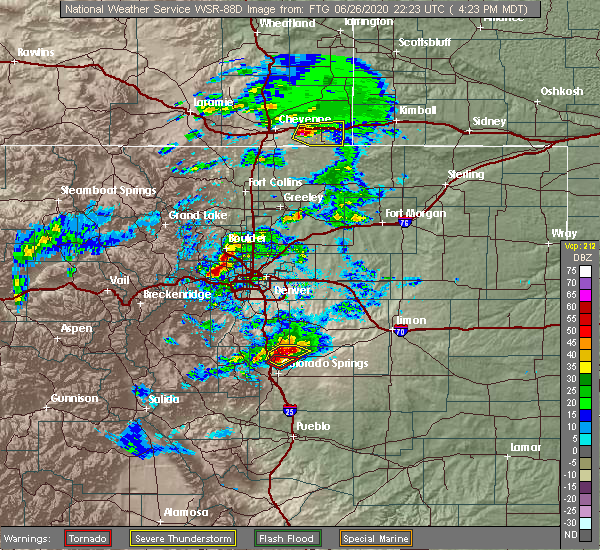 Radar Image for Severe Thunderstorms near West Pleasant View, CO at 6/26/2020 4:28 PM MDT