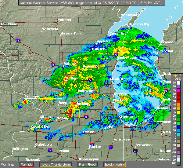 Radar Image for Severe Thunderstorms near Madison, WI at 6/26/2020 5:27 PM CDT