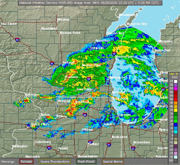 Radar Image for Severe Thunderstorms near Stillman Valley, IL at 6/26/2020 5:35 PM CDT