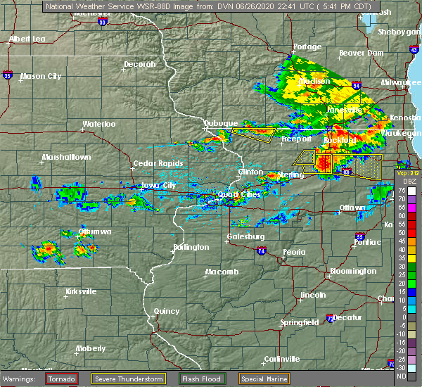 Radar Image for Severe Thunderstorms near Nora, IL at 6/26/2020 5:45 PM CDT