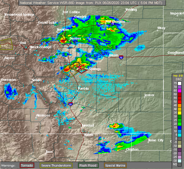 Radar Image for Severe Thunderstorms near Colorado Springs, CO at 6/26/2020 5:09 PM MDT