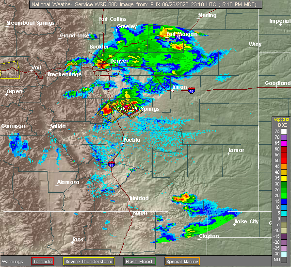 Radar Image for Severe Thunderstorms near Fountain, CO at 6/26/2020 5:16 PM MDT