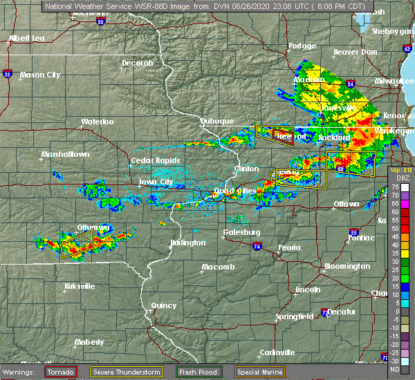 Radar Image for Severe Thunderstorms near Harmon, IL at 6/26/2020 6:15 PM CDT
