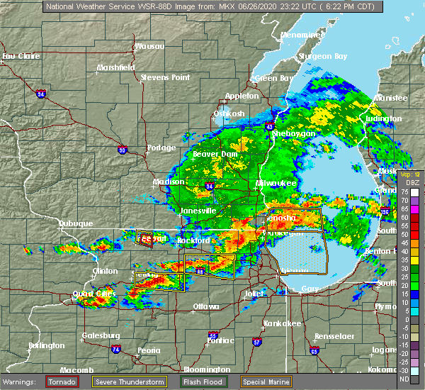Radar Image for Severe Thunderstorms near Rockford, IL at 6/26/2020 6:28 PM CDT