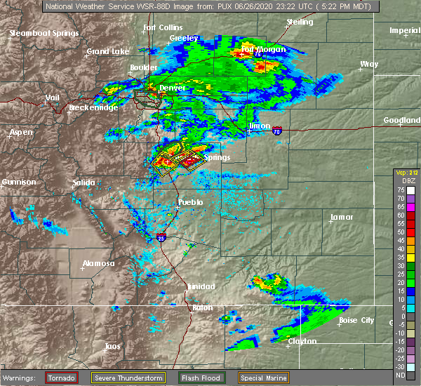 Radar Image for Severe Thunderstorms near Fountain, CO at 6/26/2020 5:31 PM MDT