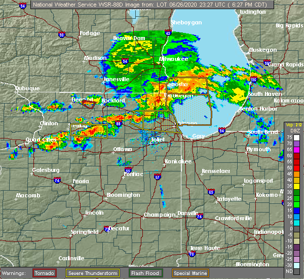 Radar Image for Severe Thunderstorms near Evanston, IL at 6/26/2020 6:37 PM CDT