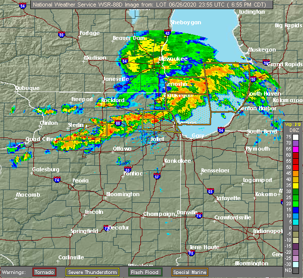 Radar Image for Severe Thunderstorms near Evanston, IL at 6/26/2020 7:01 PM CDT
