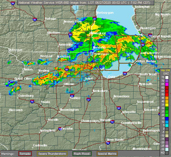 Radar Image for Severe Thunderstorms near Evanston, IL at 6/26/2020 7:09 PM CDT